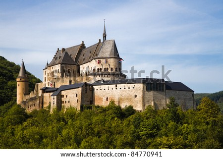 Medieval Castle Vianden, build on top of the mountain in Luxembourg or Letzebuerg