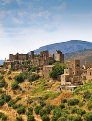 Medieval castle village of Vathia on a cliff above the sea in Mani, Peloponnese, Greece.