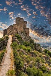 Medieval Castle With A Dramatic Sky, Located In Alburquerque, Extremadura, Spain.