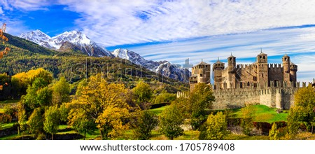 Medieval castles of Italy - beautiful Castello di Fenis in Valle d'Aosta surrounded by Alps mountains Foto stock ©