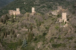Medieval castles of Lastours in the south of France near Carcassonne (linked to Catharism)