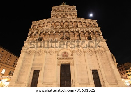 medieval Cathedral of San Michele of Lucca, Italy by night