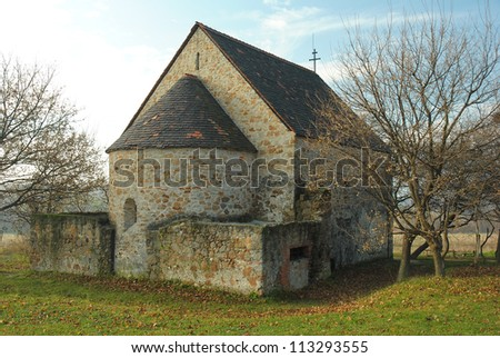 medieval chapel on a hill at fall, near Budapest, Hungary