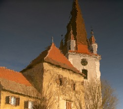 Medieval Church, Old Fortified Church Reflection in Water, Medieval Architecture Cristian Transylvania