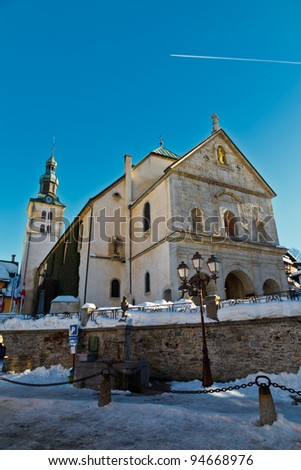 Medieval Church on the Central Square of Megeve, French Alps