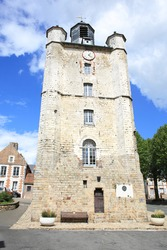 Medieval church tower in Saint-Riquier, France