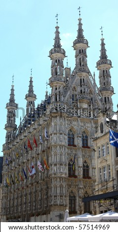 Medieval city hall in Leuven with blue sky Stock foto ©