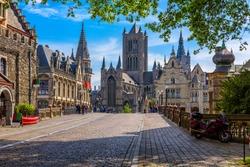 Medieval city of Gent (Ghent) in Flanders with Saint Nicholas Church and Gent Town Hall, Belgium. Cityscape of Ghent.