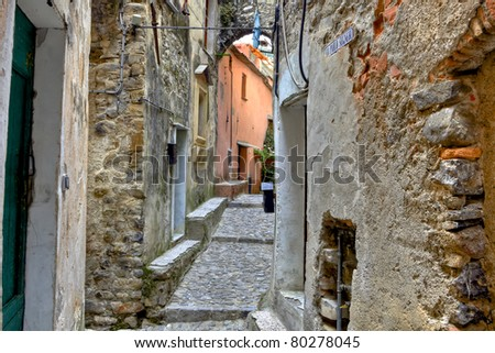 medieval city Taggia in Liguria, Italy, with many winding streets