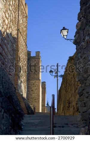Medieval city walls in Buitrago de Lozoya, Comunidad de Madrid, Spain