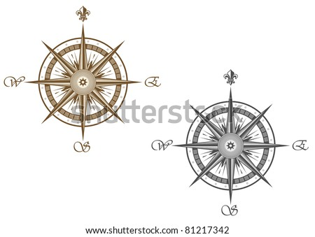 Medieval compass isolated on white background for travel design, such a logo. Vector version also available in gallery