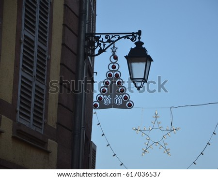 Medieval decorative iron details on building in France #617036537