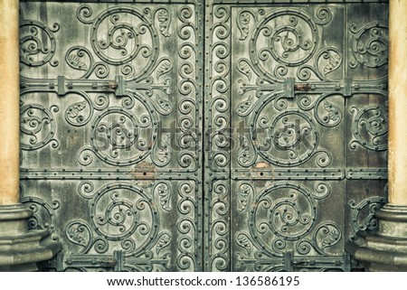 Medieval door in an English building as a detailed background image