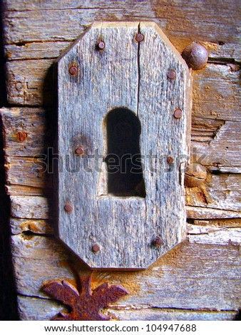 Medieval doorlock fitted to a church door in a French village