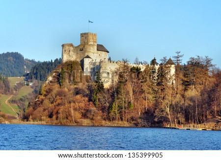 Medieval Dunajec Castle in Niedzica, Poland. Built in 14th century, partly ruined.