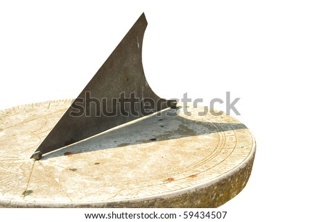 Medieval European sundial. Isolated object
