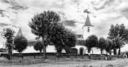 Medieval evangelical saxon fortified church in Bruiu village (Braller), a commune in Sibiu County, Transylvania, Romania