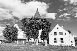 Medieval evangelical  saxon fortified church of Somartin village (Martinsberg), Bruiu commune, Sibiu county, Transylvania, Romania; Saxon fortified church of Transylvania