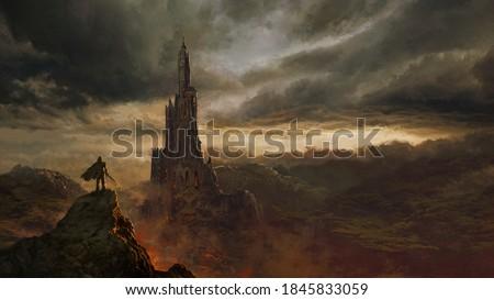 Medieval fantasy castle landscape - digital illustration Сток-фото ©