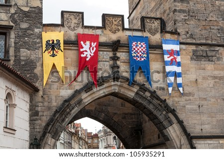 Medieval flags of Old Town bridge tower, Charles bridge, Prague
