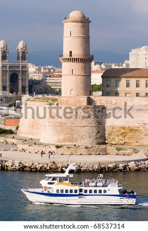 Medieval Fortress and cathedral on the waterfront in Marseille France