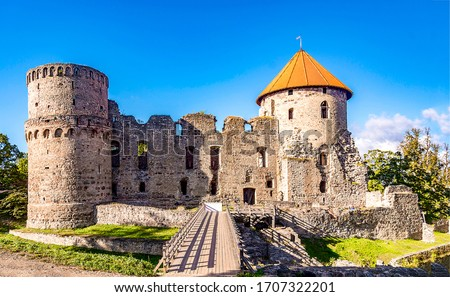Photo of  Medieval fortress ruins view. Fortress ruin. Fortress landmark. Medieval fortress