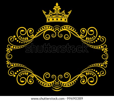 Medieval frame with royal crown in retro style