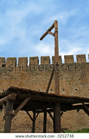 Medieval Gallows Used For Hanging Criminals Stock Photo