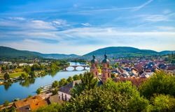 Medieval German town Miltenberg on Main river, Bavaria.
