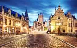 Medieval Ghent at night. Belgium
