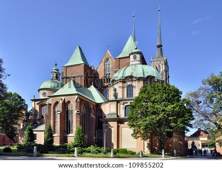 Medieval, gothic cathedral in Wroclaw (Breslau), Poland