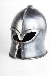 Medieval helmet for knight. Iron a handsome, on head.