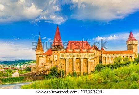 Medieval Hunyad Corvin castle, Hunedoara town,Transylvania regiom,Romania,Europe #597993221