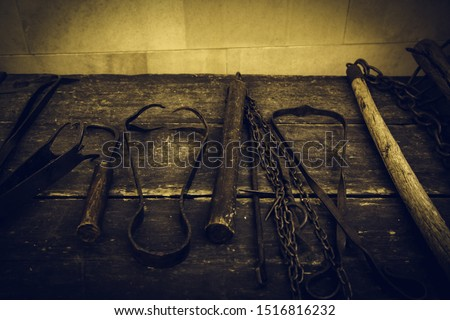 Medieval instrument of torture, detail of torture in the inquisition Stockfoto ©