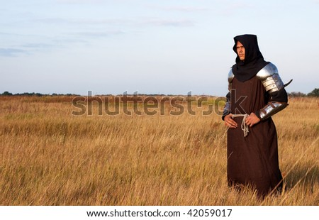 Medieval knight in the field