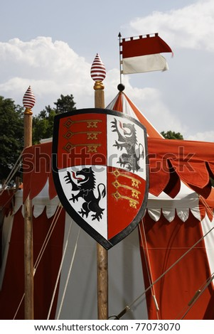 Medieval knight's armor in the castle festival Stettenfels