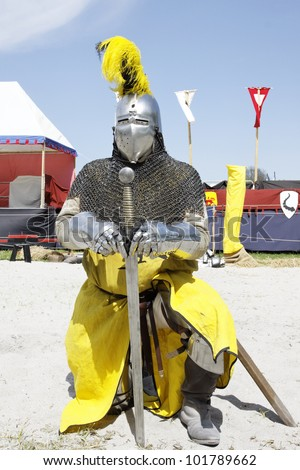Medieval knights used in battle, tournament at the Castle Stettenfels