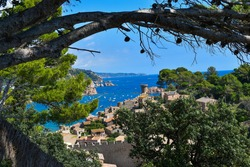 Medieval landscape with castle in the background on the coast of Tossa de Mar.