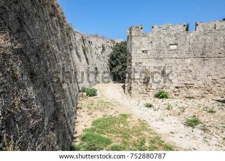 medieval large moat around the Rhodes Old Town, one of the best preserved and most extensive medieval towns in Europe.