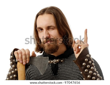 medieval man holding an axe and with his finger up