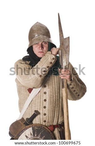 Medieval man isolated on white