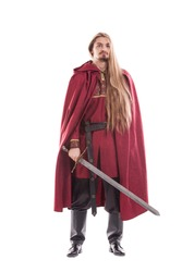Medieval man knight with long hair and sword isolated on white