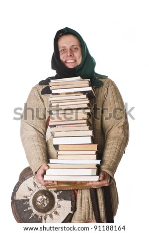 Medieval man with books