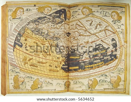 Medieval map of the world. Photo from old reproduction