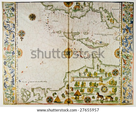 Medieval map showing part of America and West Indies. Photo from old reproduction