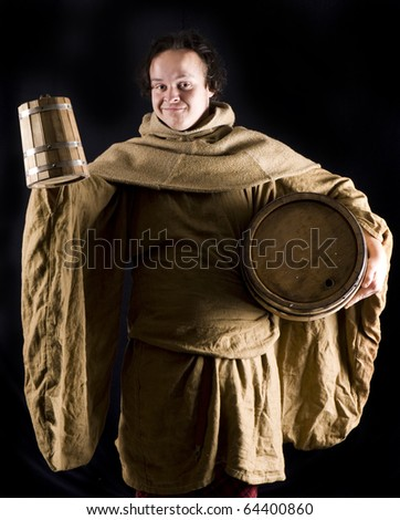 medieval monk with wine barrel