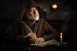 medieval monk writer in monastery