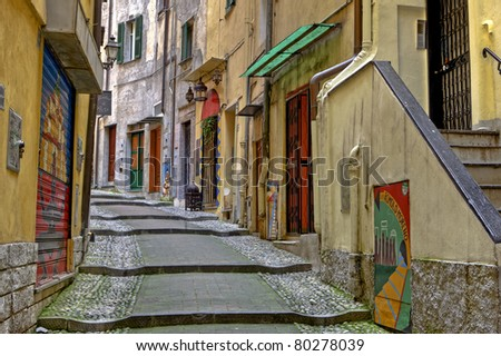 medieval old town of Sanremo, called Pigna, with winding streets
