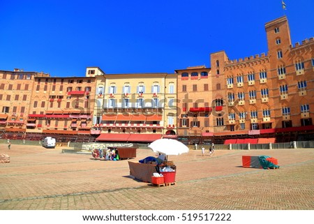 Shutterstock Medieval palace surrounding Piazza del Campo before Palio horse race, Siena, region of Tuscany, Italy