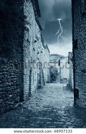medieval path under the rain